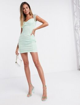 Mini-jurk met organza en rimpeleffect in mintgroen