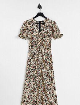 Nette midi jurk van satijn in luipaardprint-Meerkleurig