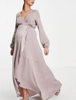 Midaxi jurk met overslag en gestrikte taille in oestergrijs