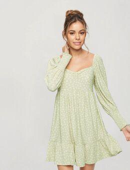 Aangerimpelde jurk met dierenprint in groen-Grijs