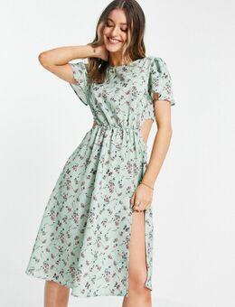 X Olivia Bowen - Midi jurk met uitsnijding aan de zijkant, dijsplit en bloemenprint in saliegroen-Meerkleurig