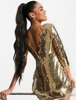 Mini jurk met 3/4e mouwen en lovertjes in goud