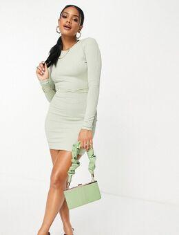 Missy Empire - Exclusives - Geribbelde mini-jurk met gestrikte taille en open achterkant in licht saliegroen