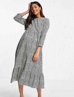 Aangerimpelde midi-jurk met geplooide zoom in zwarte madeliefjesprint