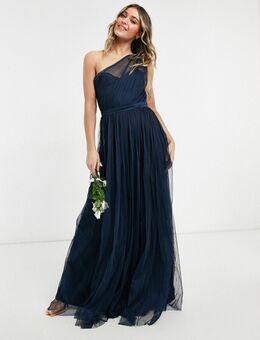 With Love - Lange bruidsmeisjesjurk van tule met blote schouder in marineblauw