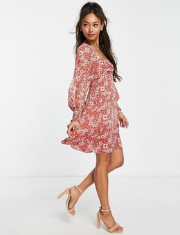 Mini jurk met strik detail en vintage bloemenprint in rood