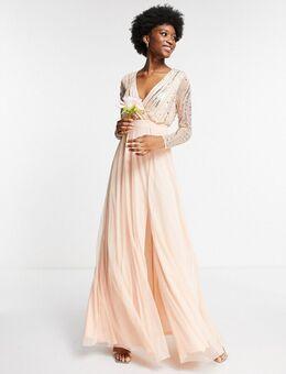 Lange jurk met versiering en overslag aan de voorkant in parelroze