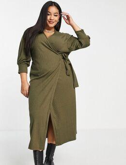 Halflange jurk met overslag en pofmouwen in kaki-Groen