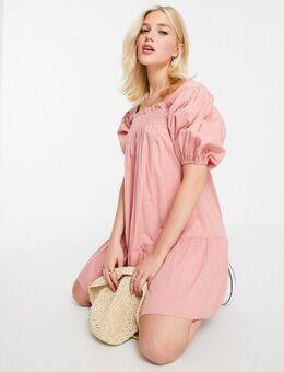 Mini-jurk van katoenpopeline met pofmouwen in roze-Oranje