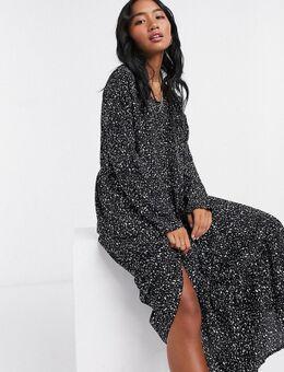 Gelaagde lange jurk met zwarte vlekkenprint