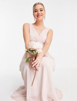 Bruidsmeisjes - Maxi jurk met V-hals in roze