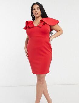 Midi jurk met diep uitgesneden voorkant en overdreven ruches in rood