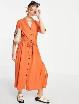 Cally - Midi-jurk met knoopsluiting in oranje
