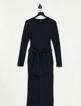 Geribbelde midi jurk met 3/4-e mouwen en strik voor in zwart