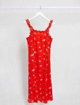 Midi-jurk met vierkante halslijn, ruches en fijne bloemenprint in rood