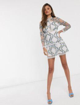 Gelaagde mini-jurk met lange mouwen in een witte basis met blauw mesh met geborduurde bloemen-Multi