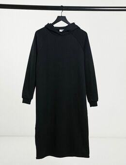 Midi sweaterjurk met capuchon en rits aan de zijkant in zwart