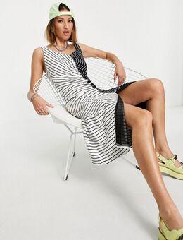 Gestreepte jurk met zwarte en witte strepen en glitter detail-Meerkleurig