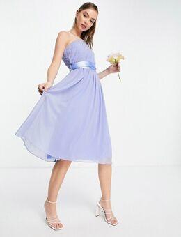 Bruidsmeisjes - Midi jurk met blote schouder in blauw