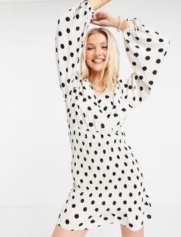 Mini jurk met stippen en ballonmouwen-Meerkleurig