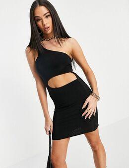 Mini-jurk met uitgesneden taille en blote schouder in zwart