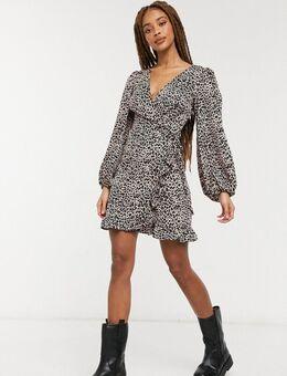 Mini jurk met overslag en ballonmouwen in dierenprint-Multikleur