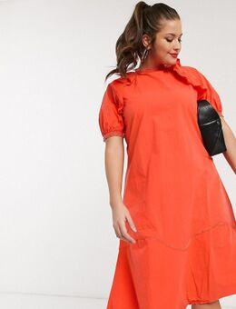 Katoenen midaxi jurk met ruches aan de schouder-Rood