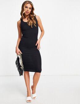 Flounce - Geribbelde midi jurk in zwart