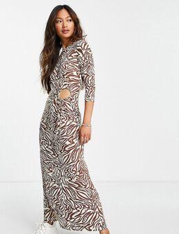 Midi-jurk met lange mouwen en uitsnijding in abstracte dierenprint-Veelkleurig