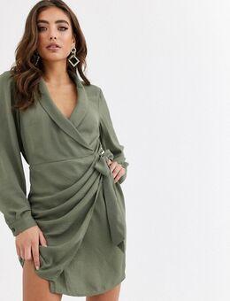 Mini-jurk met kraag en overslag in kaki-Groen
