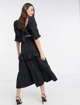 VL The Label - Midi-jurk met volumineuze strik op de rug en gelaagde ruches in zwart