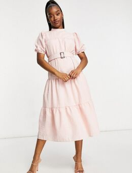 Oversized aangerimpelde midi jurk-Roze
