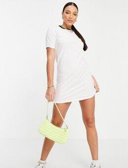 Lennie - T-shirtjurk met contrasterende hals in wit