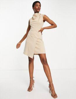 Hoogsluitende mini-jurk met overslag in kiezelkleur-Neutraal