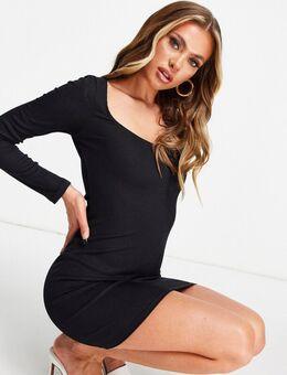 Flounce - Geribbelde mini jurk met lage ronde hals in zwart