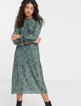 Midi jurk met elastische taille in bloemenprint-Meerkleurig