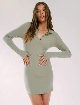 Mini jurk met lange mouwen, kraag en knoopsluiting in saliegroen