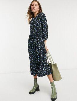 Tall - Aangerimpelde midi jurk met bloemenprint van vergeet-mij-nietjes-Zwart