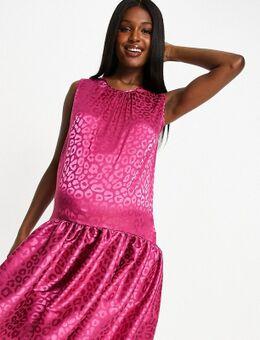 Midi jurk met verlaagde zoom in roze luipaardprint-Multikleur