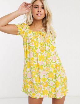 Faithfull - Fleur - Mini-jurk met vierkante hals, korte mouwen en bloemenprint-Geel