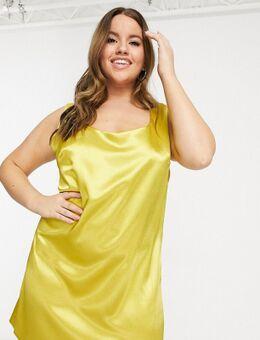 Unique21 - Hero - Satijnen mini-jurk met lage ronde hals in goud