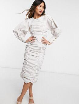 Midi jurk met gerimpelde pofmouwen in beige-Neutraal