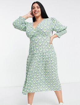 Geplooide midaxi jurk met pofmouwen in groene geometrische print-Verschillende kleuren