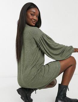 ASOS DESIGN Tall - Mini-jurk met lange ballonmouwen in superzachte kaki-Groen
