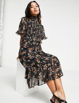 Hoogsluitende midi jurk met bloemenprint in zwart