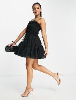 Mini-jurk met A-lijn en camibandjes in zwart