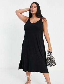 Midi jurk met ringdetail in zwart