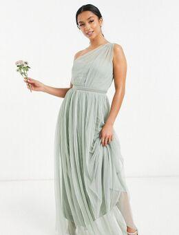 Anaya With Love Petite - Bruidsmeisjes - Lange jurk van tule met blote schouder in saliegroen