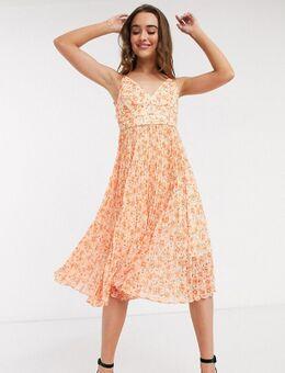 Geplooide midi-jurk in oranje bloemenprint