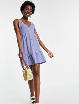 ASOS DESIGN Tall - Aangerimpelde jurk met knopen in zacht blauw